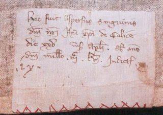 La cartula membranacea cucita sul lato sinistro del Corporale con la più antica attestazione del Miracolo Eucaristico, 1356